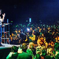 Nederland, Amsterdam, 9 maart 2017.<br /> Jesse Klaver, partijleider GroenLinks tijdens zijn speech Groen Links meeting in de Heineken Music Hal.<br /> <br /> <br /> <br /> Foto: Jean-Pierre Jans