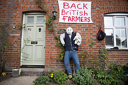© Licensed to London News Pictures. 27/04/2020. Capel, UK. A scarecrow depiction of a farmer adorns the front of a house in the Surrey village of Capel. Residents of the village have resurrected their summer tradition of scarecrows in tribute to NHS medical staff and other key workers. Up to 30 of the life size home made doll like characters can be seen in front gardens throughout the village. The public have been told they can only leave their homes when absolutely essential, in an attempt to fight the spread of coronavirus COVID-19 disease. Photo credit: Peter Macdiarmid/LNP