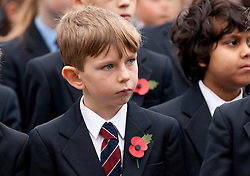 © Licensed to London News Pictures. 9/11/2012. Solihull, West Midlands. All 1,000 (one thousand) pupils at Solihull School along with Teachers and Governors, fell silent today, as they stood together in silence to mark remembrance day with a special service.Pupils stand in silence during the service. Photo credit : Dave Warren/LNP