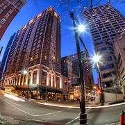 Kansas City MO downtown fisheye lens photo at 12th and Baltimore Street.