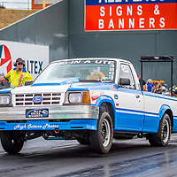 Corrigin's Brett Connelly in his Super Street Ford Courier.  96fm's Power Palooza II at Perth Motorplex. Photo by Phil Luyer, High Octane Photos