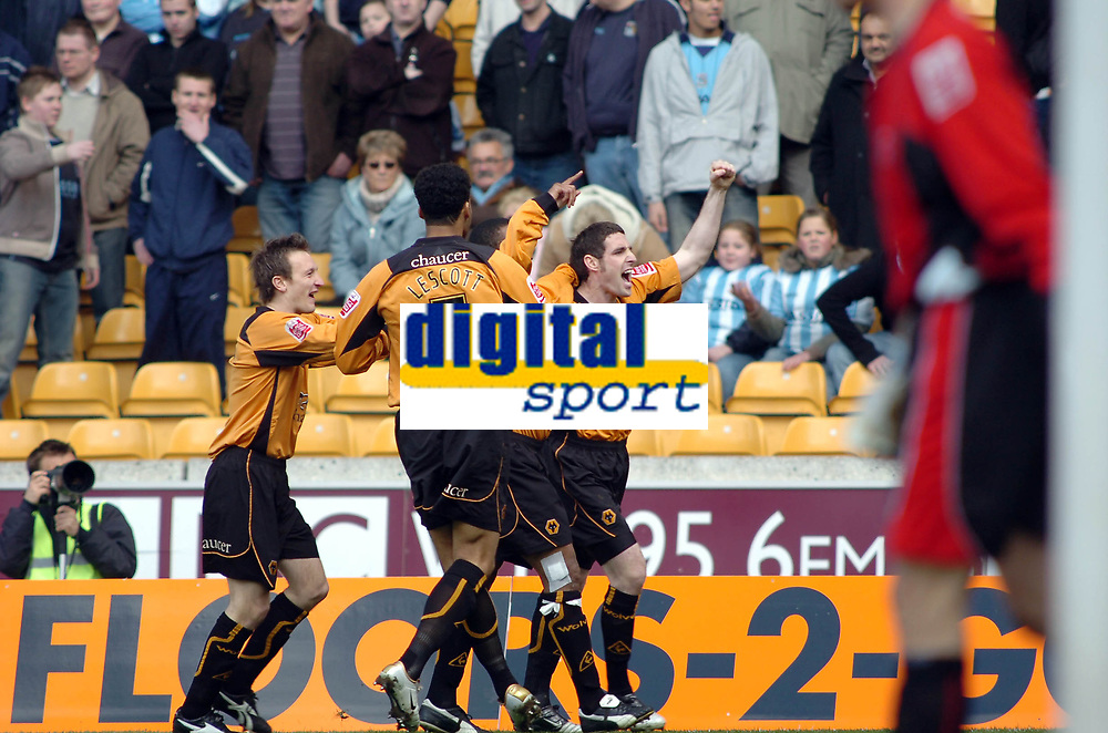 Photo: Kevin Poolman.<br />Wolverhampton Wanderers v Coventry City. Coca Cola Championship. 08/04/2006. Wolves players celebrate Paul Ince's goal.