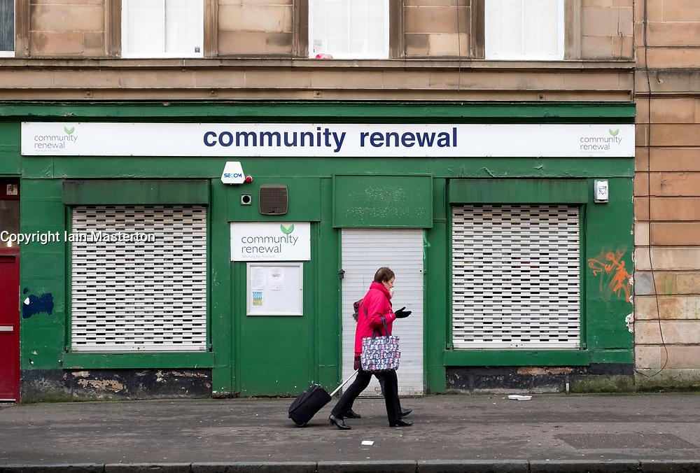 Small shuttered shop, Community renewal,  in Govanhill district of Glasgow, Scotland, United Kingdom.