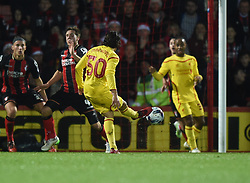 Liverpool's Lazar Markovic scores against AFC Bournemouth - Photo mandatory by-line: Paul Knight/JMP - Mobile: 07966 386802 - 17/12/2014 - SPORT - Football - Bournemouth - Goldsands Stadium - AFC Bournemouth v Liverpool - Capital One Cup