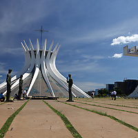 South America, Brazil, Brasilia. Brasília's Cathedral -Basilica of Our Lady Aparecida, designed by architect Oscar Neimeyer - a UNESCO World Heritage Site.
