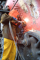 Welding stay bolts on steam engine.  D-30 digital capture.   © John Birchard