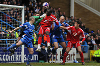 Photo: Tony Oudot/Richard Lane Photography. <br /> Gillingham Town v Carlisle United. Coca-Cola League One. 21/03/2008. <br /> Cleveland Taylor of Carlisle gets a header in on goal
