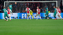 08-05-2019 NED: Semi Final Champions League AFC Ajax - Tottenham Hotspur, Amsterdam<br /> After a dramatic ending, Ajax has not been able to reach the final of the Champions League. In the final second Tottenham Hotspur scored 3-2 / Fernando Llorente #18 of Tottenham Hotspur, Noussair Mazraoui #12 of Ajax, Andre Onana #24 of Ajax, Donny van de Beek #6 of Ajax, Lucas #27 of Tottenham Hotspur, Toby Alderweireld #4 of Tottenham Hotspur