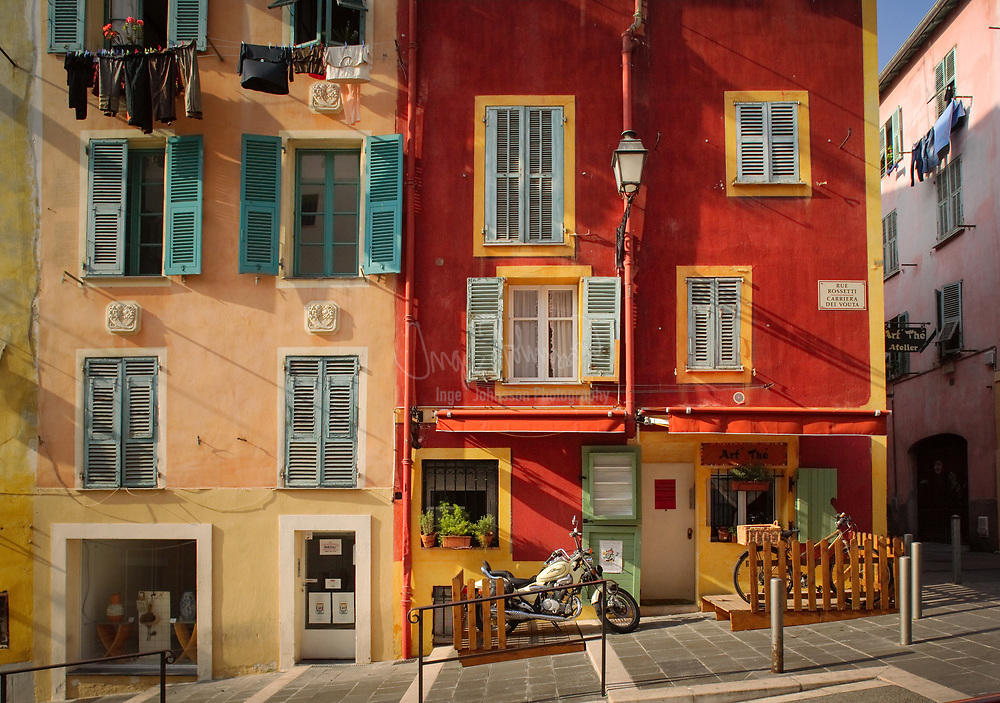 Typical French residential buildings on a street in Nice, Cote d'Azur