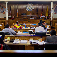 Members of the Navajo Nation Council conduct a meeting at the council chambers in Window Rock Monday.