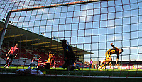 Hull City's Josh Magennis celebrates scoring the opening goal<br /> <br /> Photographer Chris Vaughan/CameraSport<br /> <br /> The EFL Sky Bet League One - Lincoln City v Hull City - Saturday 24th April 2021 - LNER Stadium - Lincoln<br /> <br /> World Copyright © 2021 CameraSport. All rights reserved. 43 Linden Ave. Countesthorpe. Leicester. England. LE8 5PG - Tel: +44 (0) 116 277 4147 - admin@camerasport.com - www.camerasport.com