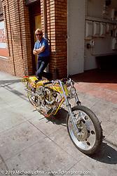 Arlen Ness with his custom Harley-Davidson Accel Bike behind Bob Dron's first Oakland Harley-Davidson store, Oakland, CA. Photograph ©Michael Lichter 1987