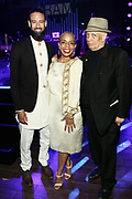 15 MAY-BROOKLYN, NEW YORK- (L-R) James Bartlett, Executive Director, MoCada, New York City Council Member Laurie Cumbo and Author/Writer Walter Mosley (Honoree) attend the BAM Gala 2019 Inside held at the Brooklyn Expo Center on May 15, 2019 in the Green Point section of Brooklyn, New York City.  (Photo by Terrence Jennings/terrencejennings.com)