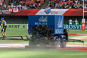 VANCOUVER, BC - MARCH 11:  The astroturf version of a Zamboni at work at the Canada Sevens held March 10-11, 2018 in BC Place Stadium in Vancouver, BC. (Photo by Allan Hamilton/Icon Sportswire)