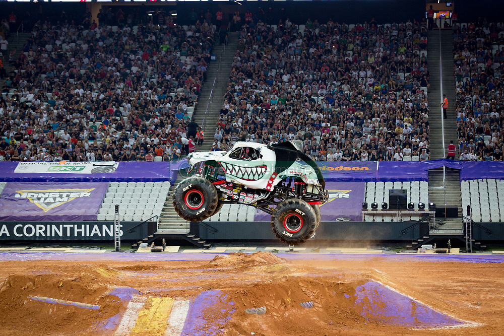 December 16, 2017 - Sao Paulo, Sao Paulo, Brazil - Monster Mutt jumps hight during a round of racing. Monster Jam was held at Corinthians Stadium, in Sao Paulo, Brazil. (Credit Image: © Paulo Lopes via ZUMA Wire)