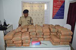 August 1, 2018 - Agartala, Tripura, India - Police seized large quantity of Cannabis (ganja) from  railway station  in Agartala, capital of the Northeastern state of Tripura,India. (Credit Image: © Abhisek Saha/SOPA Images via ZUMA Wire)
