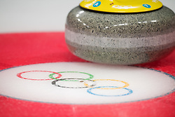 February 9, 2018 - Pyeongchang, SOUTH KOREA - 180209 Olympic Rings on ice in front of a rock at a mixed doubles curling match during the 2018 Winter Olympics on February 9, 2018 in Pyeongchang..Photo: Joel Marklund / BILDBYRN / kod JM / 87609 (Credit Image: © Joel Marklund/Bildbyran via ZUMA Press)