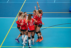 Team VC Sneek celebrate during the supercup semifinal between VC Sneek and Sliedrecht Sport on October, 03 2020 in Van der Knaaphal, Ede
