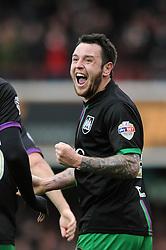 Lee Tomlin of Bristol City celebrates scoring the opening goal - Mandatory by-line: Dougie Allward/JMP - 16/04/2016 - FOOTBALL - Griffin Park - Brentford, England - Brentford v Bristol City - Sky Bet Championship