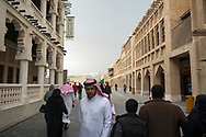 Morning scene on a cool February morning in the popular pedestrian area of Souk Waqif in Doha, Qatar.