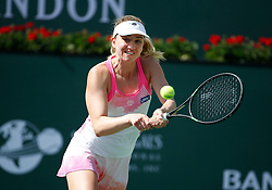 March 9, 2019 - Indian Wells, CA, U.S. - INDIAN WELLS, CA - MARCH 09: Mona Barthel (GER) hits a backhand during the second round of the BNP Paribas Open on March 09, 2019, at the Indian Wells Tennis Gardens in Indian Wells, CA. (Photo by Adam Davis/Icon Sportswire) (Credit Image: © Adam Davis/Icon SMI via ZUMA Press)