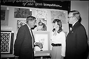 """28/06/1967<br /> 06/28/1967<br /> 28 June 1967<br /> Presentation of prizes at Navan Carpets """"Young Designer of the Year"""" reception in the Royal Hibernian Hotel, Dublin. Image shows Mr. Michael Bourke, Principal of the National College of Art Miss June M. Clampett and Mr. J. Short, Navan Carpets Ltd. in front of Miss Clampett's work."""