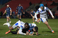Rugby Union - 2020 / 2021 Gallagher Premiership - Round Nine - Sale Sharks  vs Bath - AJ Bell Stadium<br /> <br /> Sale Sharks' Cameron Neild scores his sides third try.<br /> <br /> COLORSPORT/ASHLEY WESTERN