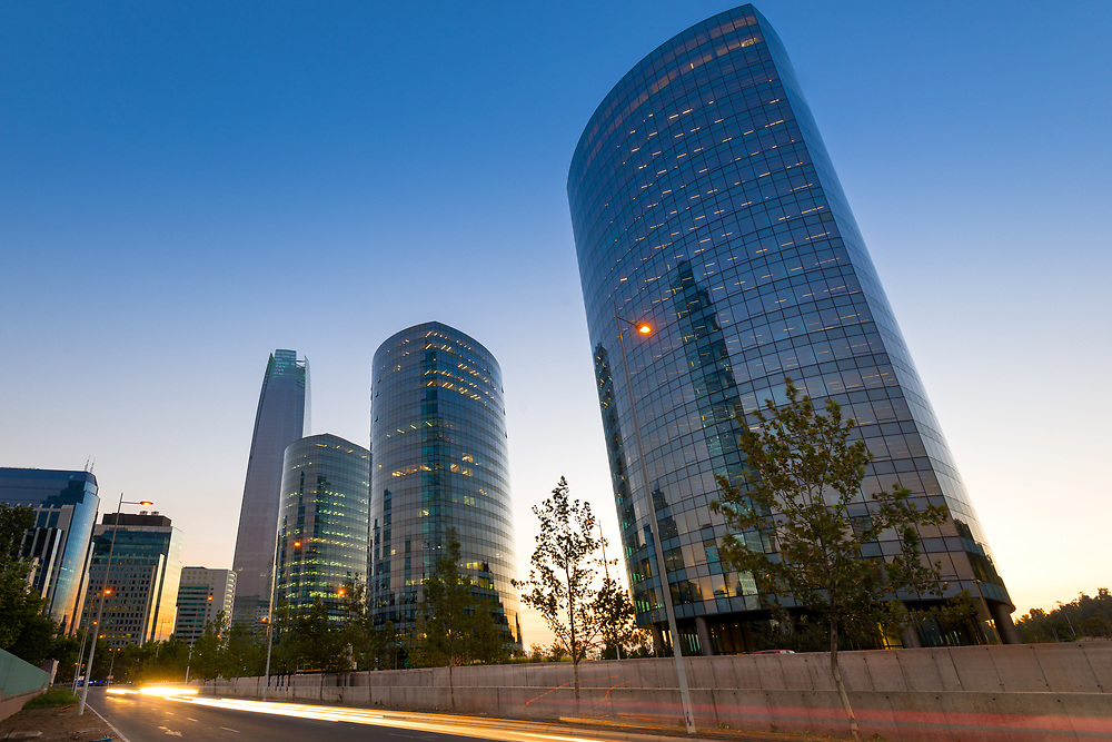 Skyline of modern office buildings at financial district in Santiago de Chile