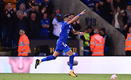Riyad Mahrez of Leicester celebrates after he scores his teams 1st goal to make it 1-1 .Premier league match, Leicester City v West Bromwich Albion at the King Power Stadium in Leicester, Leicestershire on Monday 16th October 2017.<br /> pic by Bradley Collyer, Andrew Orchard sports photography.