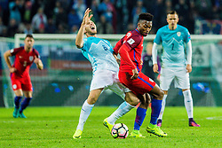 Rene Krhin of Slovenia and Eric Dier of England during football match between National teams of Slovenia and England in Round #3 of FIFA World Cup Russia 2018 qualifications in Group F, on October 11, 2016 in SRC Stozice, Ljubljana, Slovenia. Photo by Grega Valancic / Sportida
