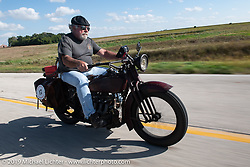 Rick Salisbury of the Legends Motorcycle Museum riding his 1928 Indian Ace on the lMotorcycle Cannonball coast to coast vintage run. Stage 7 (274 miles) from Cedar Rapids to Spirit Lake, IA. Friday September 14, 2018. Photography ©2018 Michael Lichter.