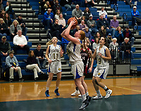 Hannah Perkins take a shot to the basket during opening round of NHIAA Division III tournament play with Stevens on Thursday evening.  (Karen Bobotas/for the Laconia Daily Sun)