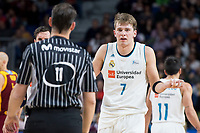 Real Madrid Luka Doncic talking with referee during Liga Endesa match between Real Madrid and Herbalife GC at Wizink Center in Madrid, Spain. December 03, 2017. (ALTERPHOTOS/Borja B.Hojas)