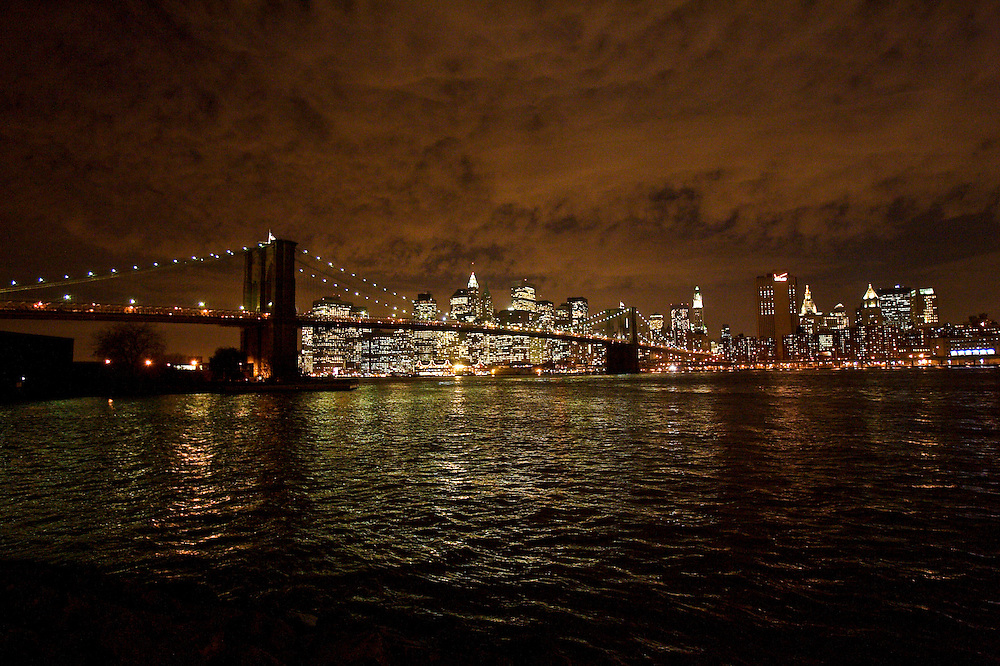 View of the Brooklyn Bridge and Manhattan from DUMBO (Down Under the Manhattan Bridge Overpass), an arts district in Brooklyn, NY. USA