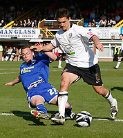 Photo: Steve Bond/Richard Lane Photography. Hereford United v Leicester City. Coca Cola League One. 11/04/2009. Paul Dickov (L) slides in on Kris Taylor