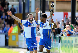 Bristol Rovers' Ellis Harrison celebrates with Bristol Rovers' Andy Monkhouse after making it 1-0 - Photo mandatory by-line: Neil Brookman/JMP - Mobile: 07966 386802 - 11/04/2015 - SPORT - Football - Bristol - Memorial Stadium - Bristol Rovers v Southport - Vanarama Football Conference