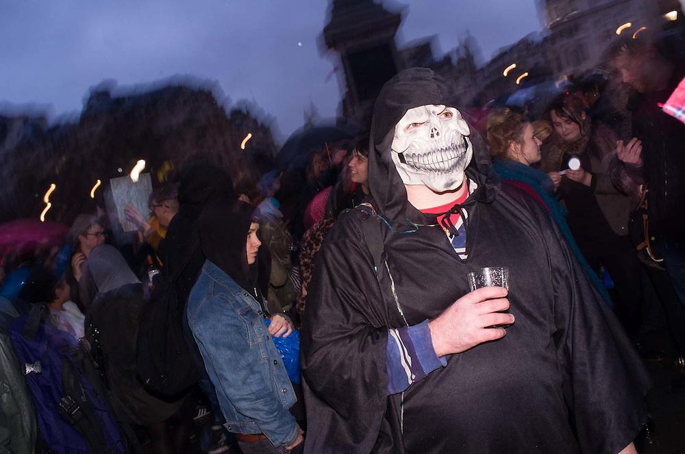 Anti Baroness Thatcher protests celebrating her death, Trafalgar Square, London, Britain.