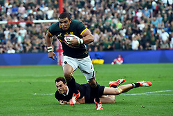 04/10/2014. Bryan Habana of the Springboks makes his way past Israel Dagg of the All Blacks during the test match held at Ellis Park Stadium. <br /> <br /> Picture: Masi Losi