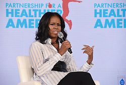 Former first lady Michelle Obama speaks at the Healthier America's 2017 summit on May 12, 2017 at the Renaissance hotel in Washington, DC. Photo by Olivier Douliery/ Abaca