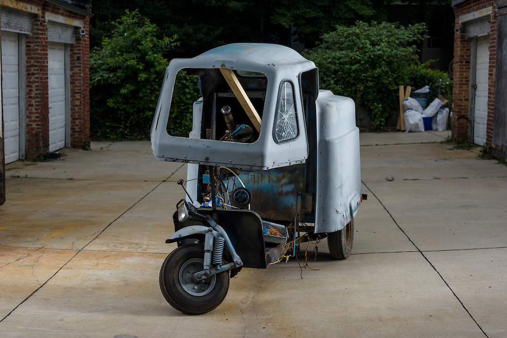 Baltimore, Maryland - August 01, 2014: Matt Fouse bought a replacement engine for his antique Mailster Scooter made by Cushman. He is bringing it up to his father's small engine shop in Pennsylvania to work on it. CREDIT: Matt Roth