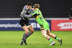 Ospreys' Owen Watkin is tackled by Northampton Saints' Tom Stephenson<br /> <br /> Photographer Craig Thomas/Replay Images<br /> <br /> EPCR Champions Cup Round 4 - Ospreys v Northampton Saints - Sunday 17th December 2017 - Parc y Scarlets - Llanelli<br /> <br /> World Copyright © 2017 Replay Images. All rights reserved. info@replayimages.co.uk - www.replayimages.co.uk