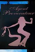 Agent Provocateur sign on Westbourne Grove in Notting Hill, West London. Made famous from the movie of the same name.
