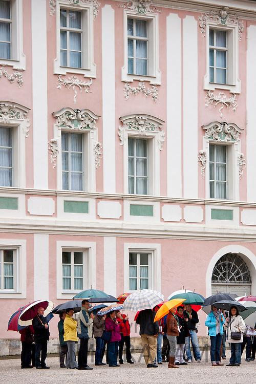 Tourists visit Konigliches Schloss in Schlossplatz, Berchtesgaden in Baden-Wurttenberg, Bavaria, Germany