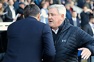 Aston Villa manager / coach Steve Bruce and Fulham First Team Head Coach Slavisa Jokanovic shake hands before kick off during the EFL Sky Bet Championship match between Fulham and Aston Villa at Craven Cottage, London, England on 17 February 2018. Picture by Andy Walter.