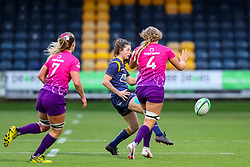 Robyn Wilkins of Worcester Warriors Women nudges a ball towards the wing - Mandatory by-line: Nick Browning/JMP - 14/11/2020 - RUGBY - Sixways Stadium - Worcester, England - Worcester Warriors Women v Loughborough Lightning - Allianz Premier 15s