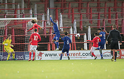 WREXHAM, WALES - Thursday, November 10, 2016: Dimitris Nikolaou scored the second goal for Greece during the UEFA European Under-19 Championship Qualifying Round Group 6 match at the Racecourse Ground against Wales. (Pic by Gavin Trafford/Propaganda)