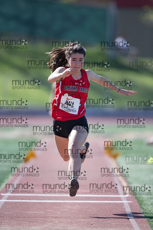 (Guelph, Canada---07 June 2019) Eleanor Hall of Smiths Falls High School competing in the midget girls triple jump at the 2019 OFSAA Ontario High School Track and Field Championships held at Alumni Stadium at the University of Guelph. Copyright image 2019 Sean W Burges / Mundo Sport Images