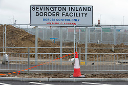 © Licensed to London News Pictures 26/12/2020.        Ashford, UK. The new sign. The Ashford Lorry Park in Kent near junction 10a now has its official name on a sign at the entrance to the 66 acre site which is under construction. Sevington Inland Border Facility will have the capacity to hold 1700 freight vehicles in case of disruption at the Port of Dover. Photo credit:Grant Falvey/LNP