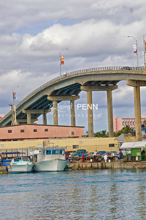 Potters Cay dock with views of the Atlantis Hotel and connecting bridges to Paradise Island