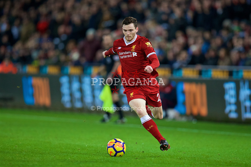 SWANSEA, WALES - Monday, January 22, 2018: Liverpool's Andy Robertson during the FA Premier League match between Swansea City FC and Liverpool FC at the Liberty Stadium. (Pic by David Rawcliffe/Propaganda)